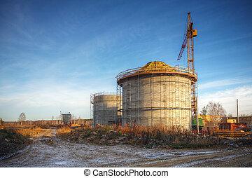 usines, nouveau, construction, traitement
