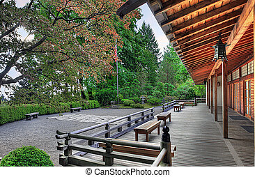 véranda, pavillon, japonais jardin
