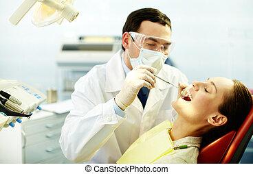 vérification, haut, dents