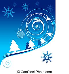 vacances, noël carte, hiver