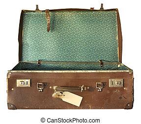valise, ouvert, vendange