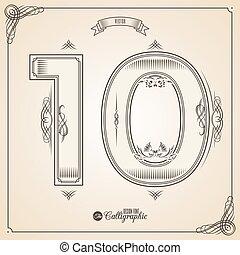 vecteur, 10, symbols., frontière, certificat, glyph., cadre, nombre, collection, calligraphic, écrit, éléments, conception, retro, fotn, invitation, plume, main, decor., symbole.
