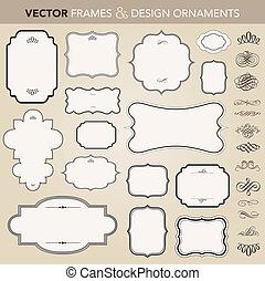 vecteur, cadre, ensemble, ornement, orné
