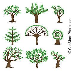 vecteur, conception, arbre., ensemble