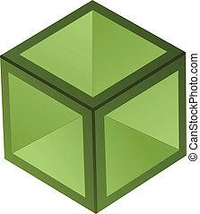 vecteur, cube, 3d