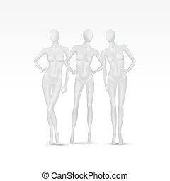vecteur, ensemble, isolé, femme, mannequins