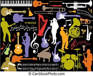 vecteur, musique, elements.