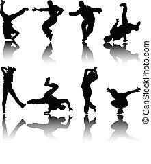 vecteur, silhouette, danseurs, rue