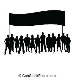 vecteur, silhouette, gens
