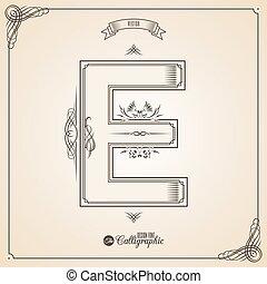 vecteur, symbols., e, lettre, certificat, glyph., cadre, symbole., collection, calligraphic, écrit, éléments, conception, retro, fotn, invitation, plume, main, decor., frontière