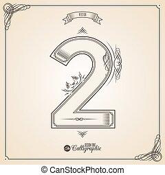 vecteur, symbols., frontière, certificat, glyph., cadre, nombre, collection, calligraphic, écrit, éléments, conception, retro, fotn, invitation, 2, plume, main, decor., symbole.