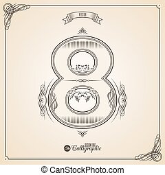 vecteur, symbols., frontière, certificat, glyph., cadre, nombre, collection, calligraphic, écrit, éléments, conception, retro, fotn, invitation, 8, plume, main, decor., symbole.