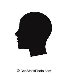 vecteur, tête, silhouette, arrière-plan noir, blanc, humain, couleur