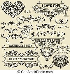 vecteur, valentine, éléments, conception, vendange