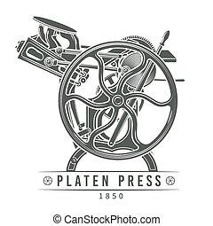 vecteur, vieux, illustration., letterpress, vendange, platine, machine, presse, logo, design.