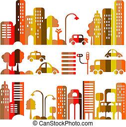vecteur, ville, soir, mignon, rue, illustration