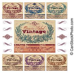 vendange, étiquettes, ensemble, (vector)