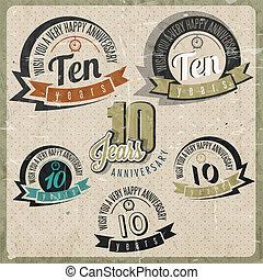 vendange, anniversaire, collection, 10