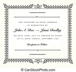 vendange, cadre, vecteur, invitation mariage