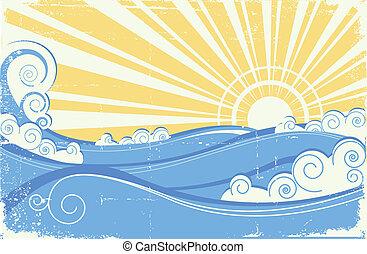 vendange, illustration, vecteur, waves., mer, soleil, paysage