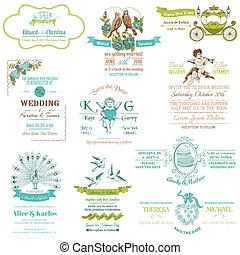 vendange, mariage, -, collection, vecteur, invitation, album, conception