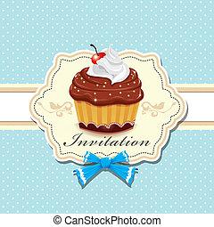 vendange, mignon, affiche, petit gâteau