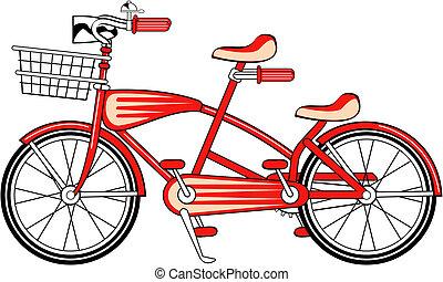 vendange, vélo, vélo, construit, deux