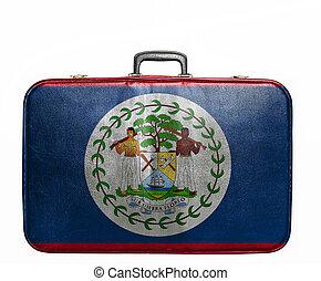 vendange, voyage, belize drapeau, sac