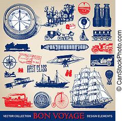 vendange, voyage, ensemble, (vector)