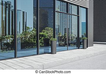 verre, bureau, bâtiment., portes, moderne