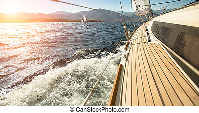 vers, sailing., navigation yacht, yachts., luxe, sunset.