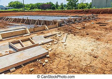 verser, béton, construction, nouveau, commercial, dalle, bâtiment, préparé