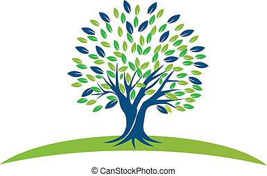 vert bleu, arbre, pousse feuilles, logo