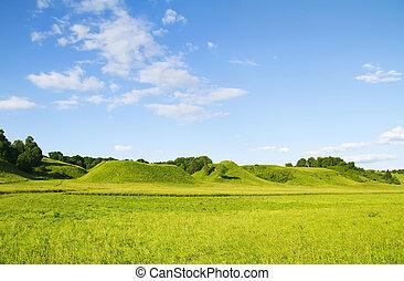 vert bleu, ciel, colline, nuageux