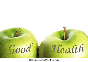 vert, bonne santé, pommes