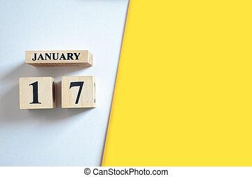 vide, 17, jaune, -, arrière-plan., janvier, blanc