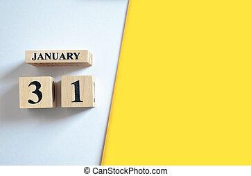 vide, 31, jaune, -, arrière-plan., janvier, blanc
