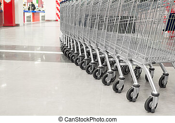 vide, supermarché, charrette, rang