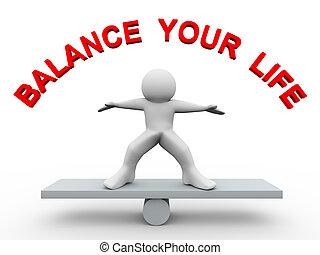 vie, -, 3d, équilibre, ton, homme