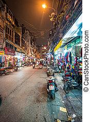 vie, hanoï, rue, asia., nuit, vietnam