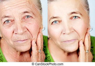 vieillissement, concept, beauté, non, -, rides, skincare