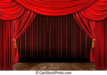 vieux, élégant, dramatique, façonné, théâtre, rouges, étape