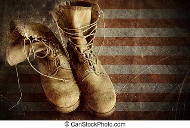 vieux, armée, drapeau usa, papier, bottes, fond