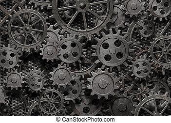 vieux, beaucoup, métal, machine, rouillé, parties, engrenages, ou
