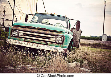 vieux, voiture, parcours, nous, rouillé, historique, 66, long