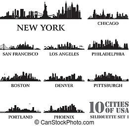 ville, #1, ensemble, silhouette, usa