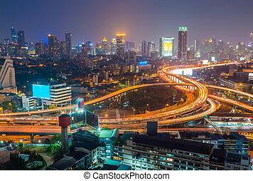 ville, aérien, bangkok, en ville, fond, interchanged, nuit, autoroute, vue