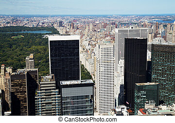 ville, aérien, midtown, parc, york, central, nouveau, vue