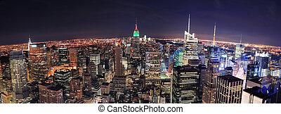 ville, aérien, panorama, horizon, york, nouveau, manhattan