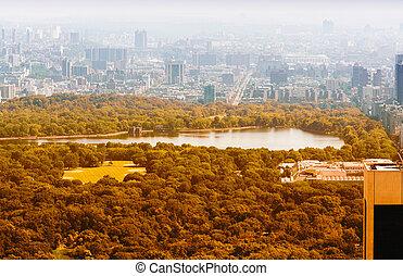 ville, aérien, parc, surprenant, york, central, nouveau, vue